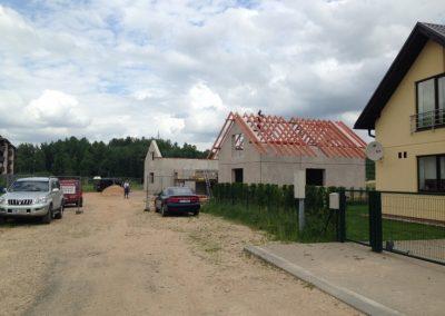 Jaunās dvīņu mājas būvniecība Siguldas Māju kvartālā, 2014.gada jūnijs